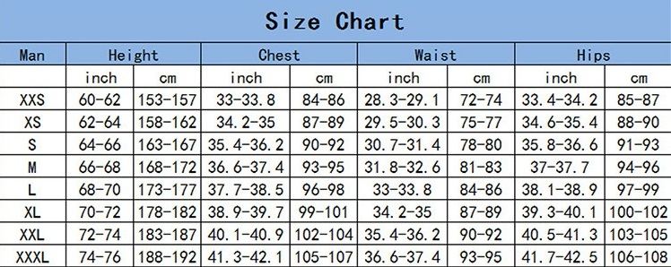 Gandalf costume for men size chart