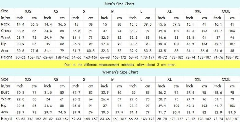 poison ivy Size chart