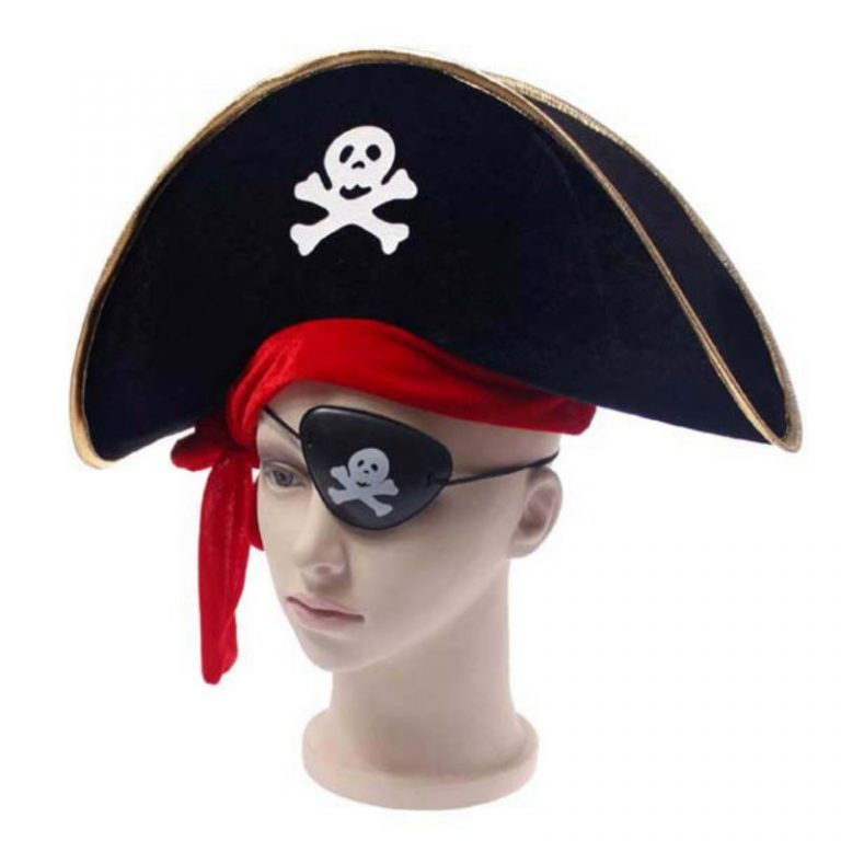 Pirate Hat with Eye-Mask Costume 1