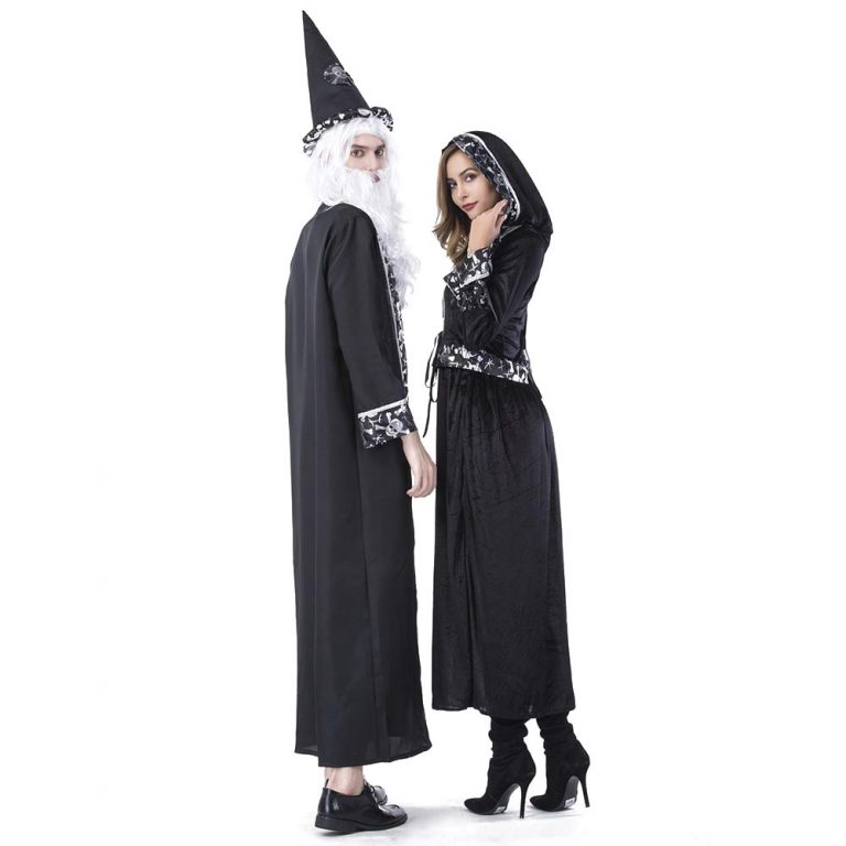 COUPLES WITCH WIZARD HALLOWEEN FANCY DRESS COSTUMES HIS AND HERS LADIES MENS