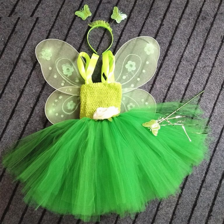 1-Set-Cosplay-Tinkerbell-Magic-Fairy-Tutu-Dress-Up-Princess-Girl-Birthday-Party-Dress-Green-Kids