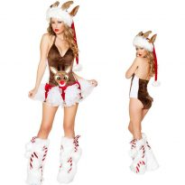 Cute Reindeer Hooded Christmas Costumes for sexy Girl 4
