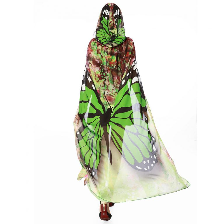 Butterfly Novelty Print Chiffon  costume With Wing Cape Scarf for Woman 2