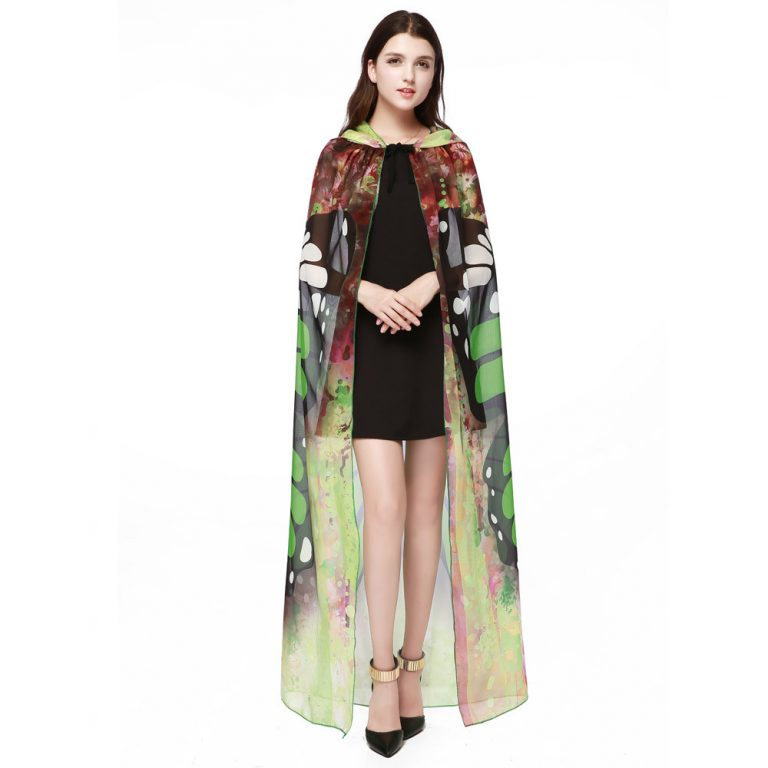 Butterfly Novelty Print Chiffon  costume With Wing Cape Scarf for Woman 3