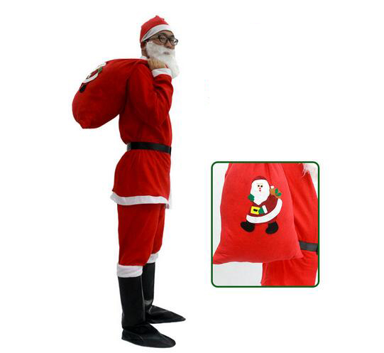 7 in 1 Red Mens Christmas Santa Claus Costumes 2