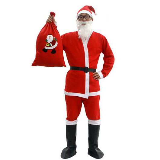 7 in 1 Red Mens Christmas Santa Claus Costumes 1
