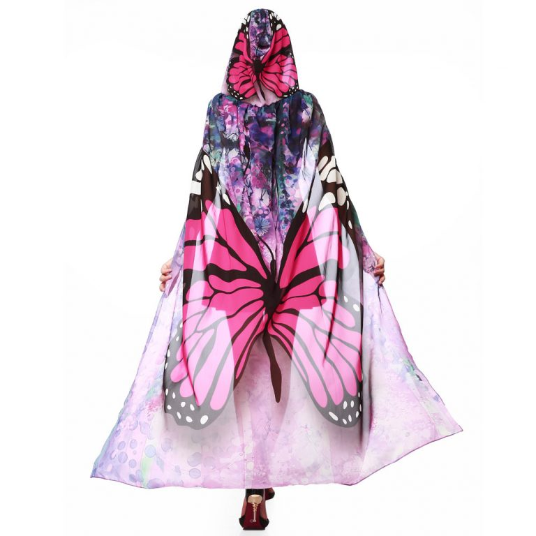 Butterfly Novelty Print Chiffon  costume With Wing Cape Scarf for Woman 5