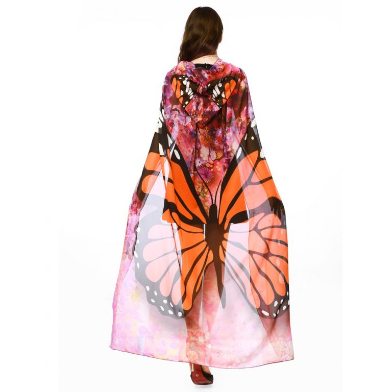 Butterfly Novelty Print Chiffon  costume With Wing Cape Scarf for Woman 6