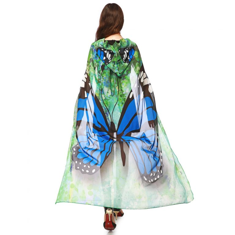 Butterfly Novelty Print Chiffon  costume With Wing Cape Scarf for Woman 7