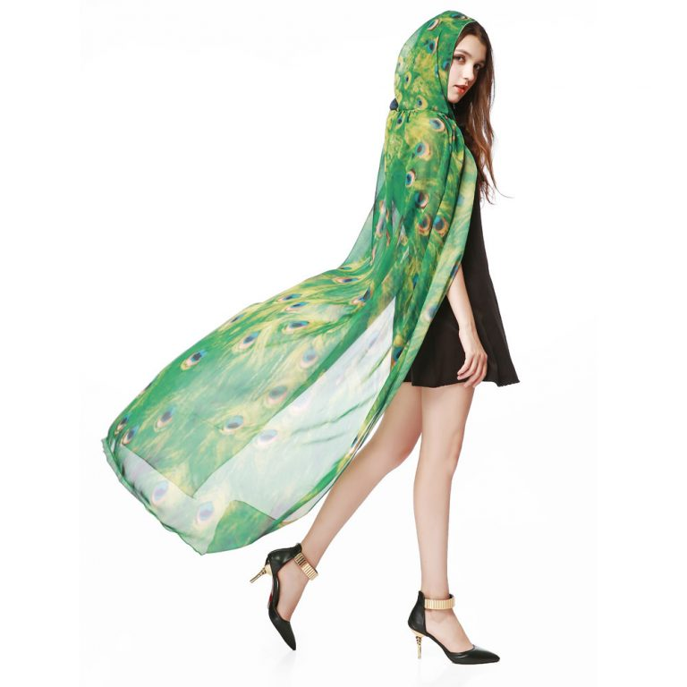 Butterfly Novelty Print Chiffon  costume With Wing Cape Scarf for Woman 8