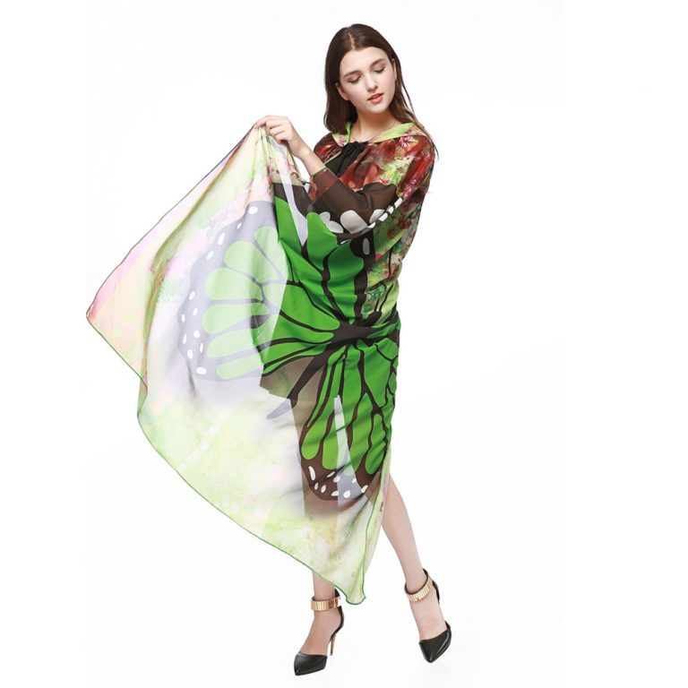 Butterfly Novelty Print Chiffon  costume With Wing Cape Scarf for Woman 9