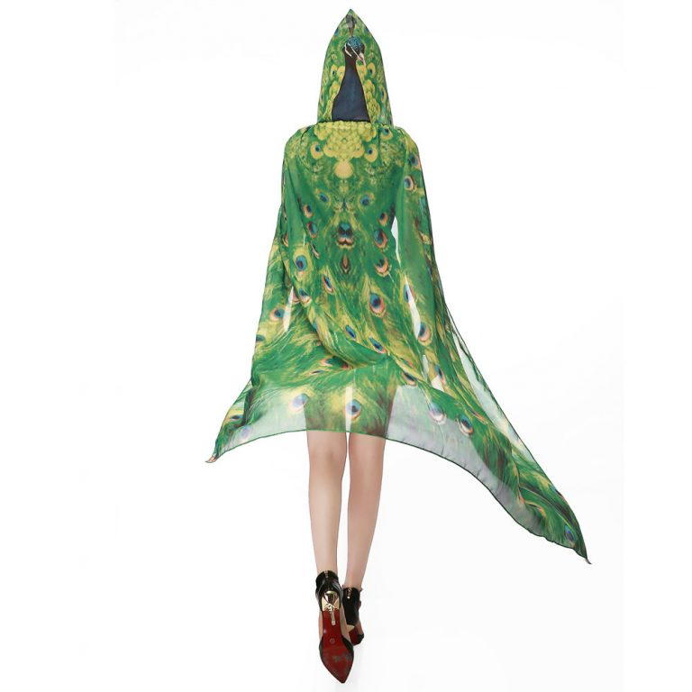 Butterfly Novelty Print Chiffon  costume With Wing Cape Scarf for Woman 10