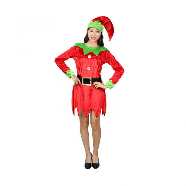 Christmas Cosplay Elf Costume with Belt Head wear For Adult Women 3