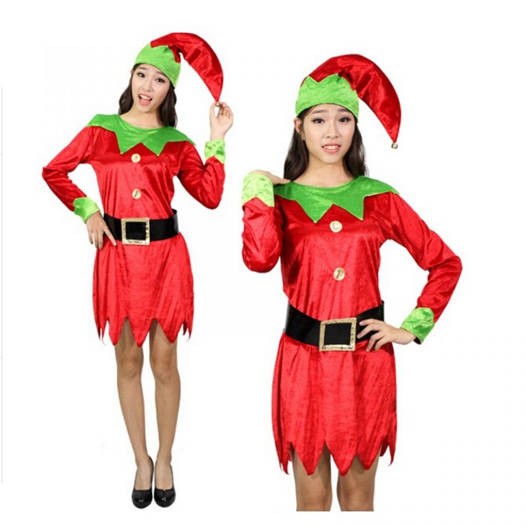 Christmas Cosplay Elf Costume with Belt Head wear For Adult Women 4