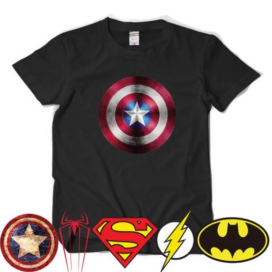 Comic-LOGO-Super-Hero-T-Shirt-Superman-Batman-Captain-America-the-Flash-Marvel-Movie-Men-Cosplay