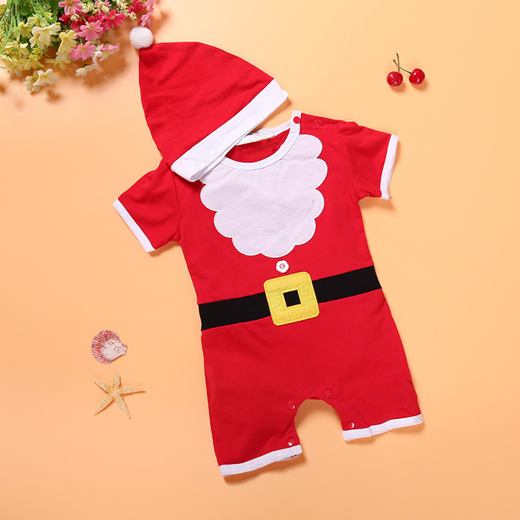 Red Christmas costumes for toddler with 2-piece set 2