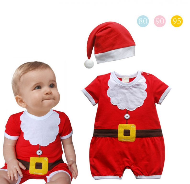 Red Christmas costumes for toddler with 2-piece set 6