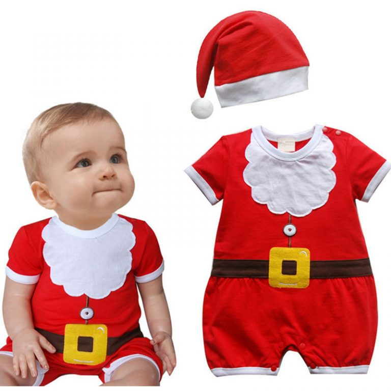 Red Christmas costumes for toddler with 2-piece set 1