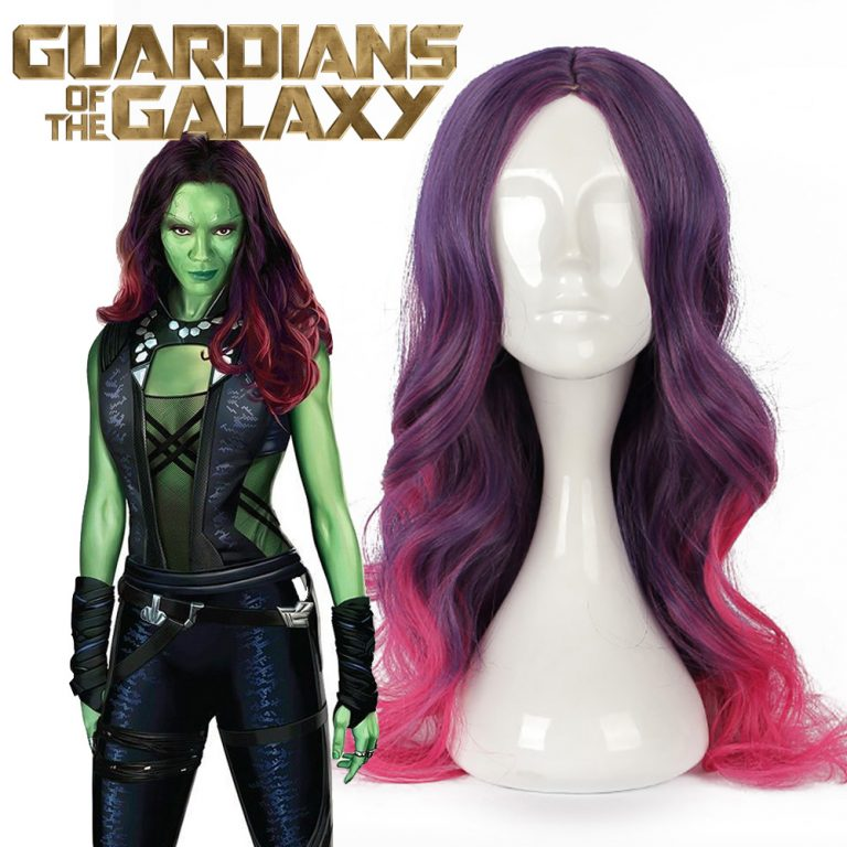 Gamora Red Long Hair Wig with Purple Costume 3
