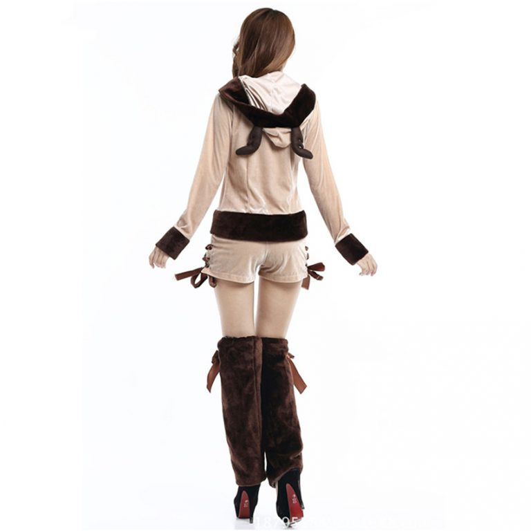 Cute Reindeer Hooded Christmas Costumes for sexy Girl 2