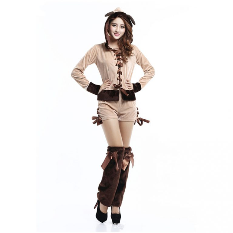 Cute Reindeer Hooded Christmas Costumes for sexy Girl 1