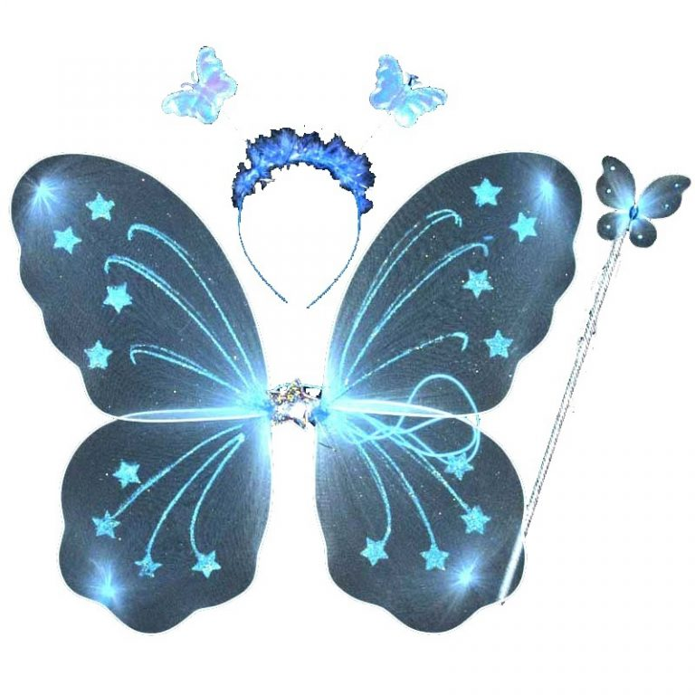 Lovely-3Pcs-Girl-Kids-Butterfly-Wing-Wand-Headband-Fairy-Xmas-Costume-Set