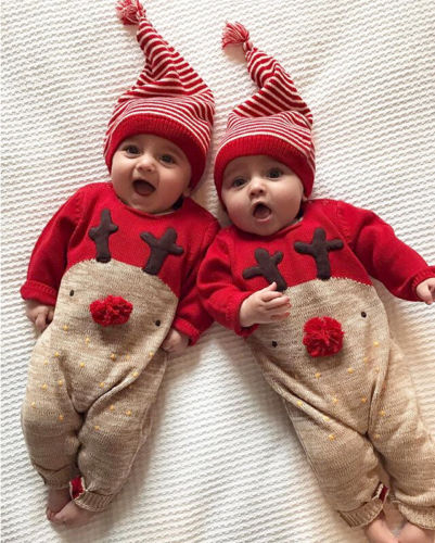 New Baby Holiday Outfit 2pc Santa/'s Little Helper Deer