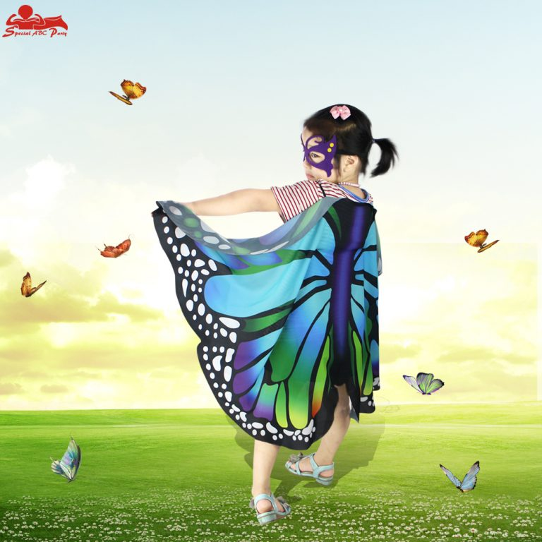 Butterfly Colorful Wings Cape and Mask for Child 13
