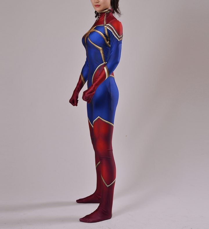 Red And Blue Captain Marvel Costume for Women 2