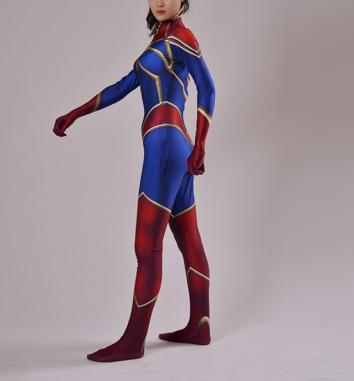 Red And Blue Captain Marvel Costume for Women 3