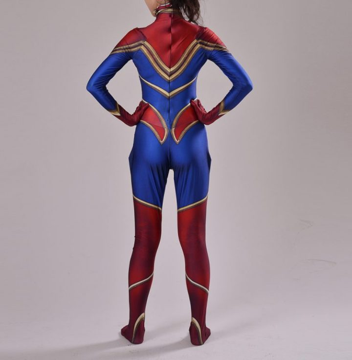 Red And Blue Captain Marvel Costume for Women 4