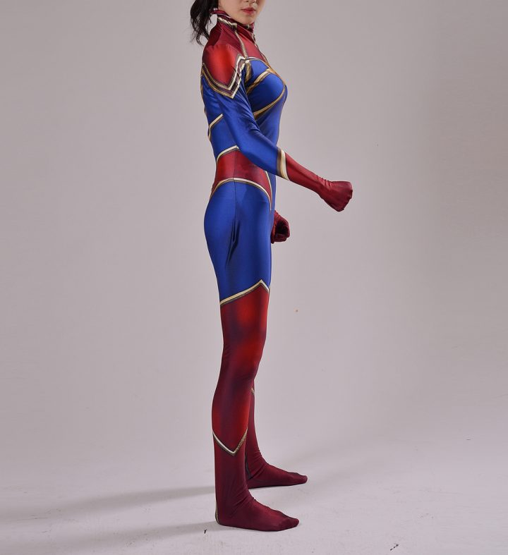 Red And Blue Captain Marvel Costume for Women 5