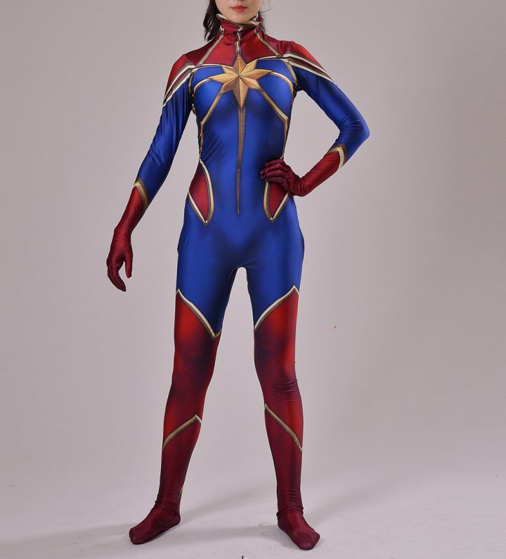 Red And Blue Captain Marvel Costume for Women 6
