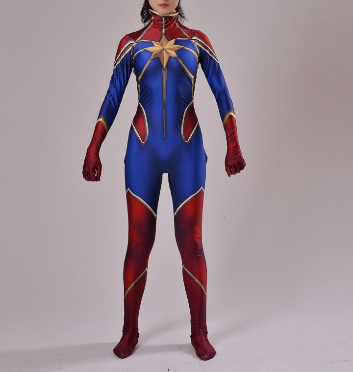 Red And Blue Captain Marvel Costume for Women 1