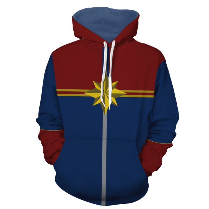 Captain Marvel Hoodie with Long Sleeves Zipper 2