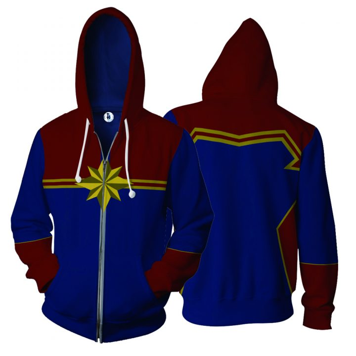 Captain Marvel Hoodie with Long Sleeves Zipper 4
