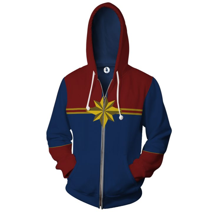 Captain Marvel Hoodie with Long Sleeves Zipper 1