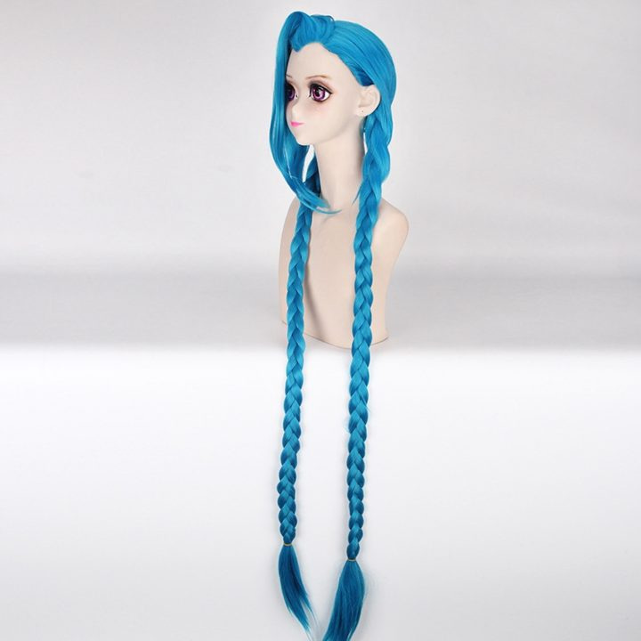 LOL Jinx Long Straight Blue Wig for Women 2