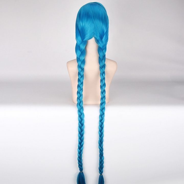 LOL Jinx Long Straight Blue Wig for Women 3