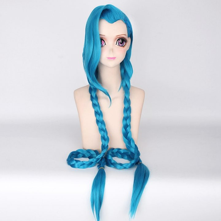 LOL Jinx Long Straight Blue Wig for Women 1